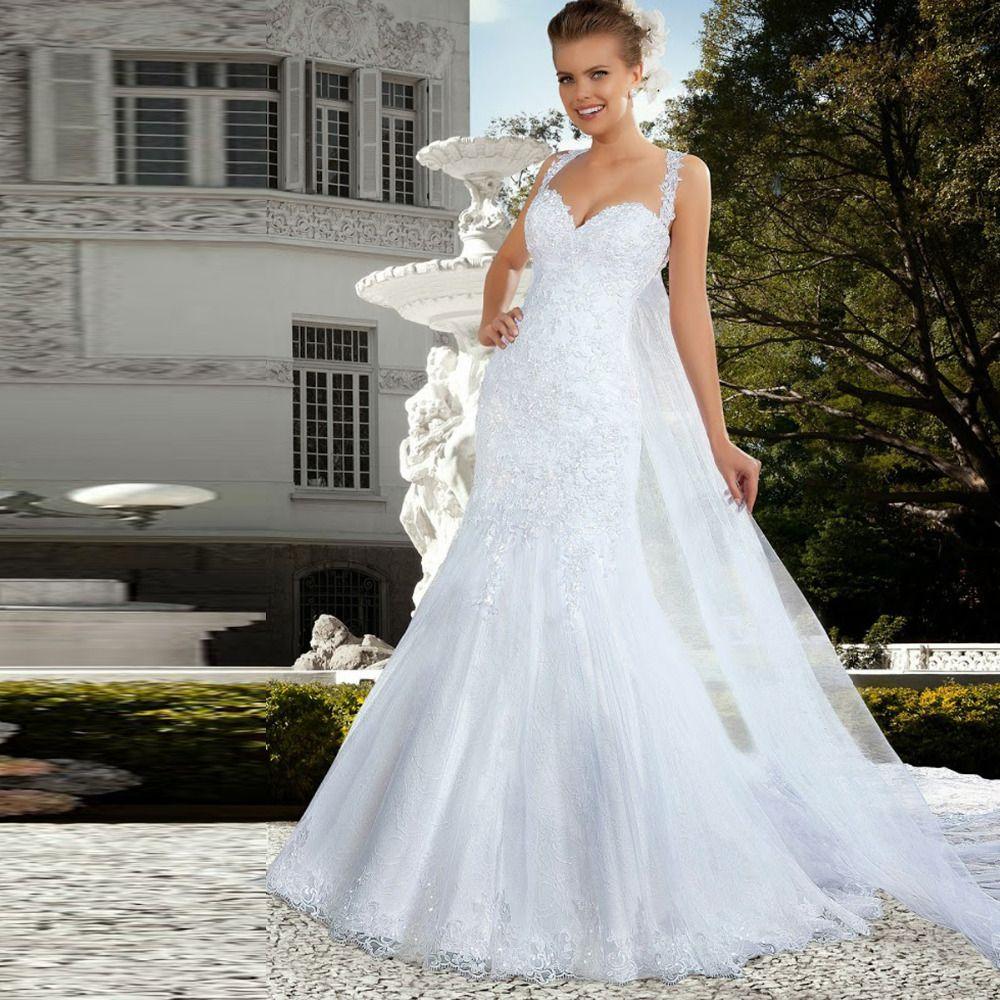 Shopping sales online mermaid wedding dress long train from back