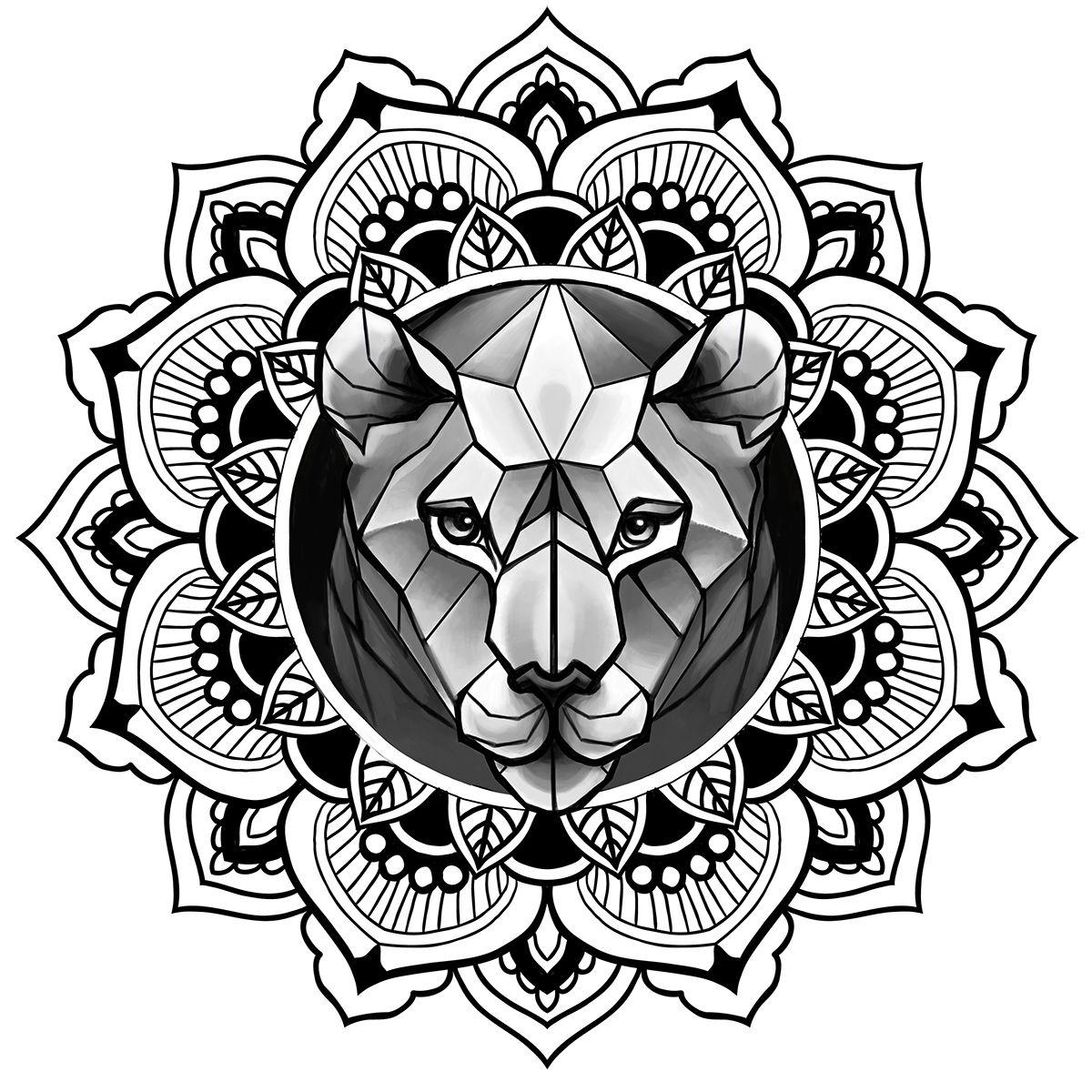 lion in mandala tattoo sketch ornamental dotwork on behance illustrator works pinterest. Black Bedroom Furniture Sets. Home Design Ideas