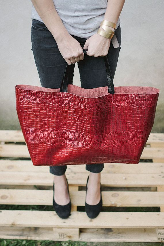 Red Croc Oversized  Bag by patkas on Etsy, $170.00