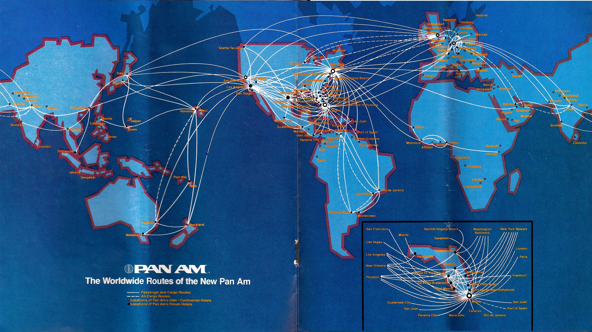 Pan Am Route Map  Airline Route Maps Pinterest - Map of major air routes in the us
