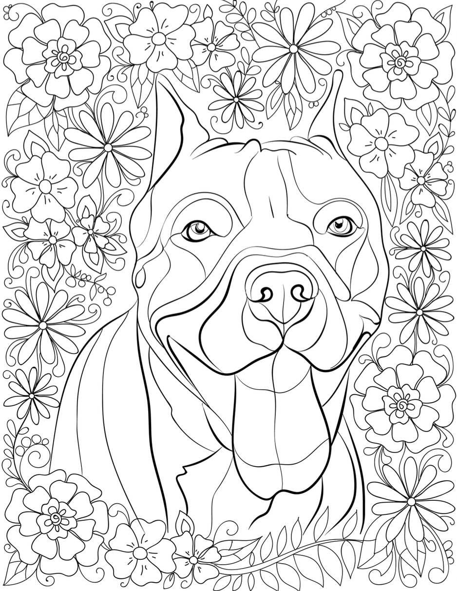 De Stress With Pit Bulls Downloadable 10 Page Coloring Book For Adults Who Love Dogs Print Instantly