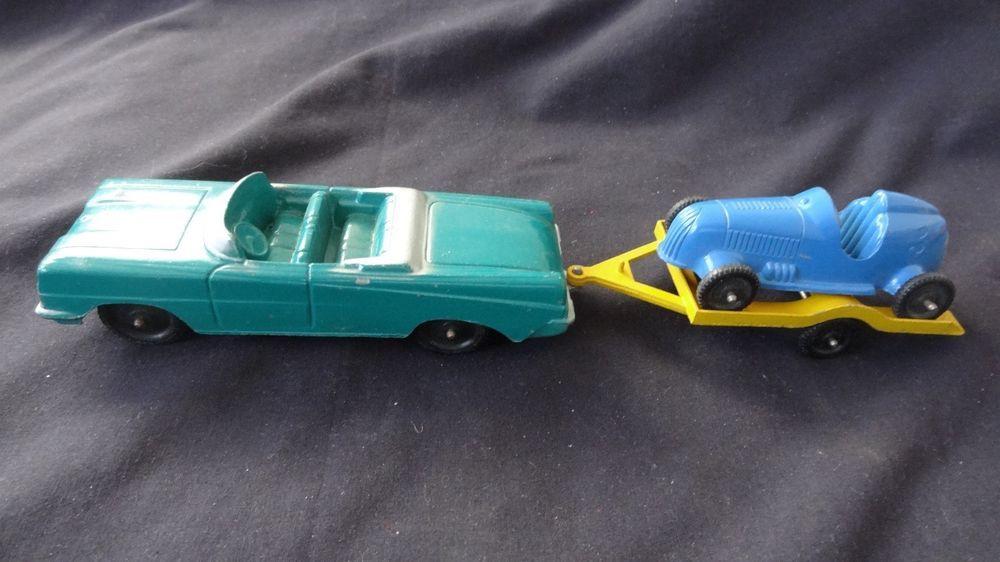 P 10297 Tootsie Toy Oldsmobile W Blue Race Car Yellow Trailer 3 Piece Set Htf Oldsmobile Toys Tootsie