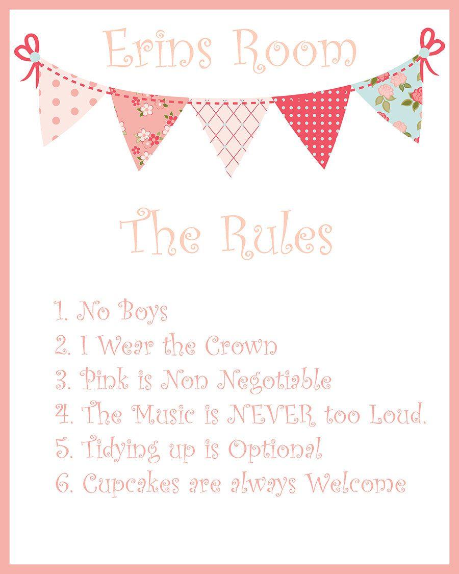 Girls Room Door Print, Pink Girls Room Printable,The Rules