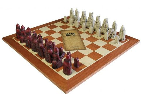 The Isle of Lewis Mahogany Chessmen & Mahogany Chess Board BUY YOURS HERE AT  www.officialstaunton.com