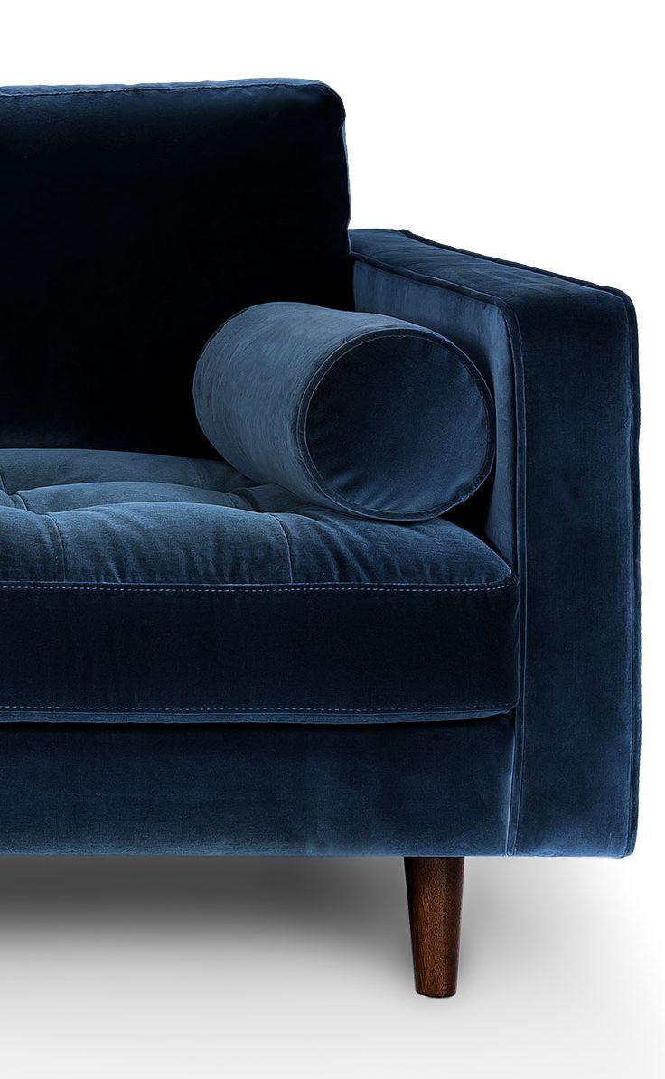 The details of a navy velvet sofa. Yum.