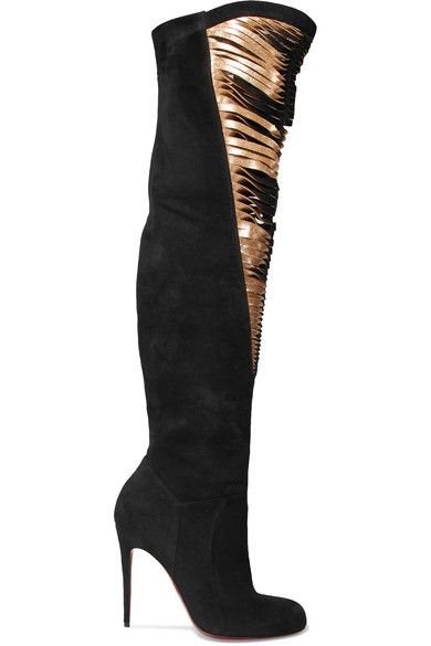 89045a9b79 CHRISTIAN LOUBOUTIN Siegfridalta 100 suede and metallic leather over-the- knee boots