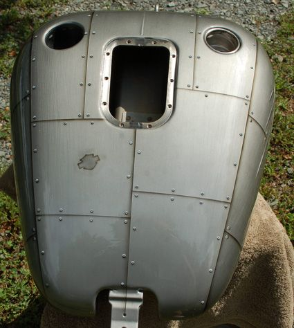 Brushed Aluminum Effect With Panels And Rivets Motorcycle Paint Jobs Gas Tank Paint Tank Painting