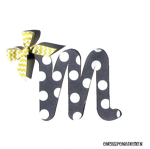 Gray And White Polka Dot Cursive Letter...Fabric Iron On Applique...You Choose Your Own Letter...Ribbon Included on Etsy, $3.00