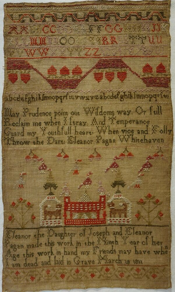 Sampler by ELEANOR PAGAN AGE 9 1811 Lettering alphabet