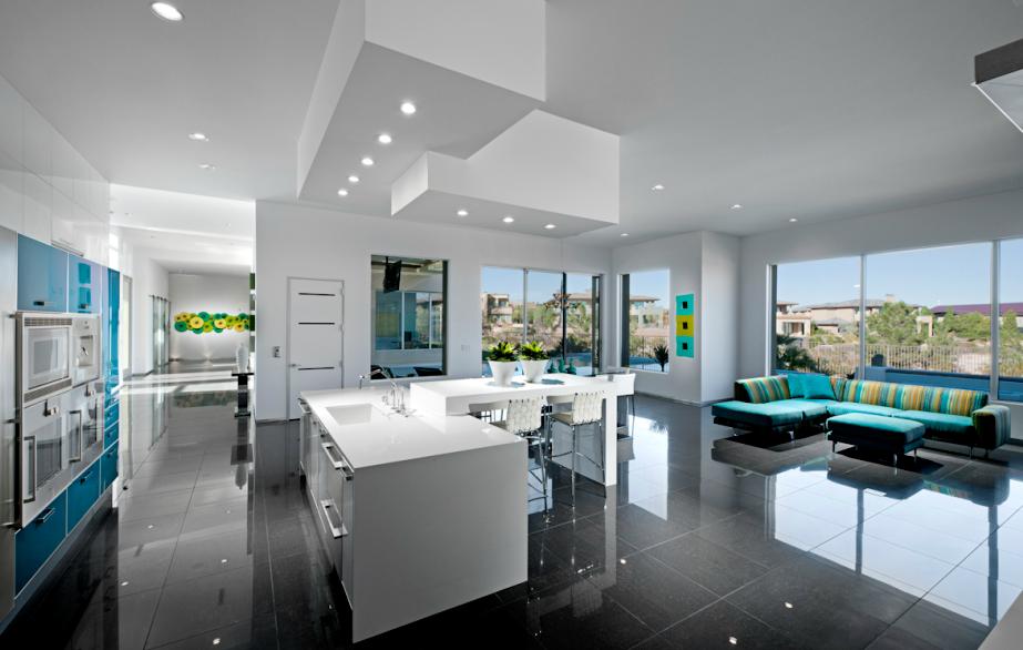 modern kitchen aqua blue white kitchen pop of color las vegas the ... - Designer Chefmobel Moderne Buro