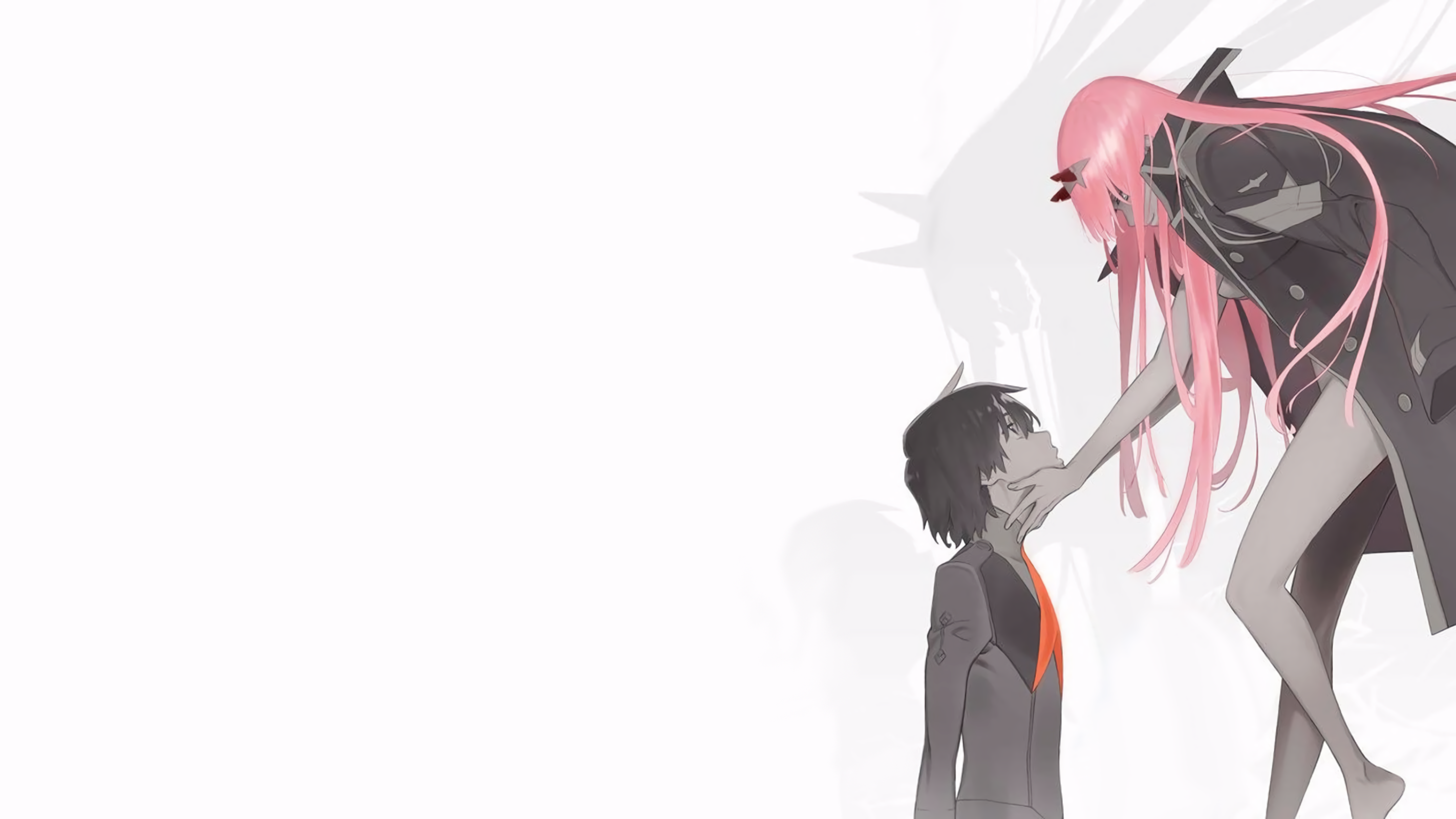 Anime 2844x1600 Digital Art Artwork Long Hair Anime Anime Girls Pink Hair Darling In The Franxx Code 016 Hiro Code 002 02 Thighs Horned Horns Anime Boys Si