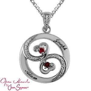 KATARINA Gemstone Intertwined Heart Pendant Necklace in 10K Gold 1//10 cttw