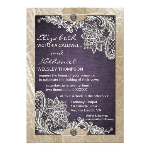Cheap Wedding Packages Abroad 2015: Rustic Denim Lace & Leather Wedding Invitation