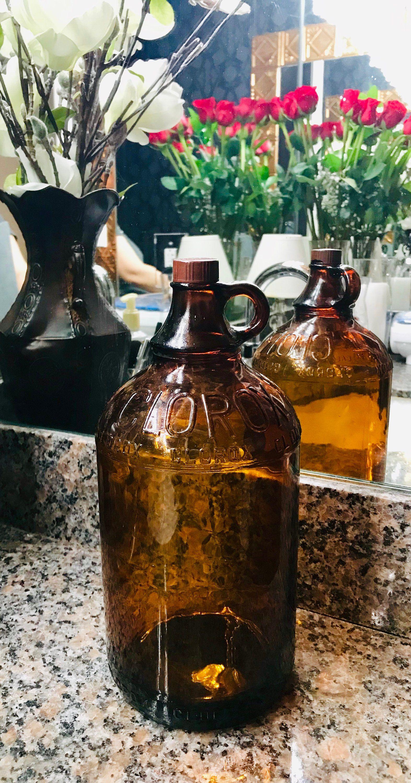 1940 vintage brown glass quart clorox screwtop bottle