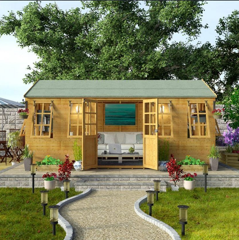 Design Outdoor EXTRA LARGE Summer House Garden Workshop Patio Cabin Shed  16x8