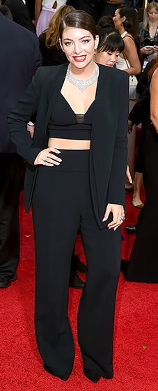 Lorde: 2015 Golden Globes - Love the idea of pants...check out Emma Stone's ensemble but this was not a hit.