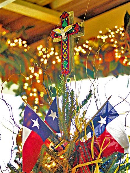 Texas Christmas tree with flags and cross Christmas Beauty