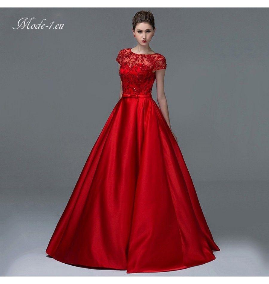 Luxus A Linie Abendkleid Seide & Spitze Weinrot  Evening dresses