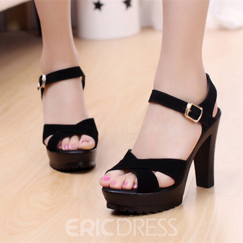 66389ee9e68 Ericdress Ankle Strap Plain Chunky Sandals