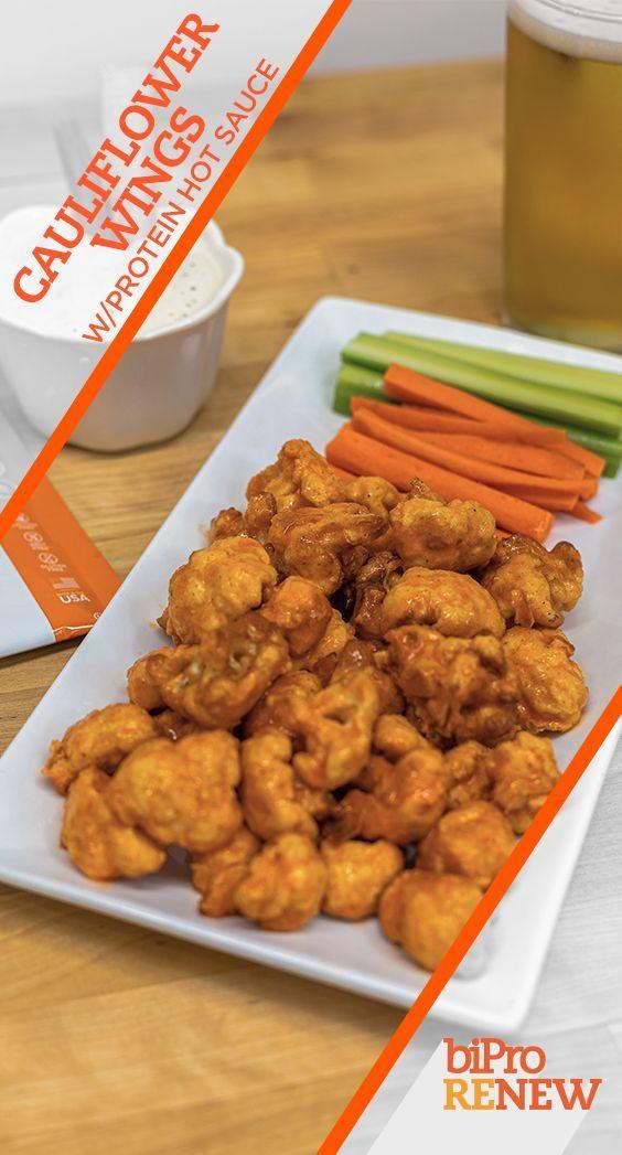 Cauliflower Wings w/Protein Hot Sauce #wheyproteinrecipes #wheyproteinrecipes