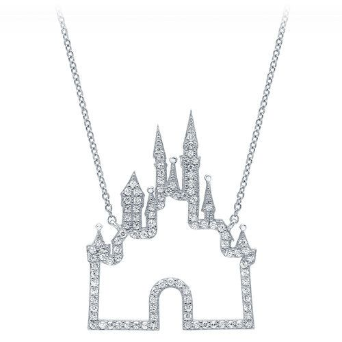 disney fantasyland castle necklace by crislu platinum castles and sterling silver