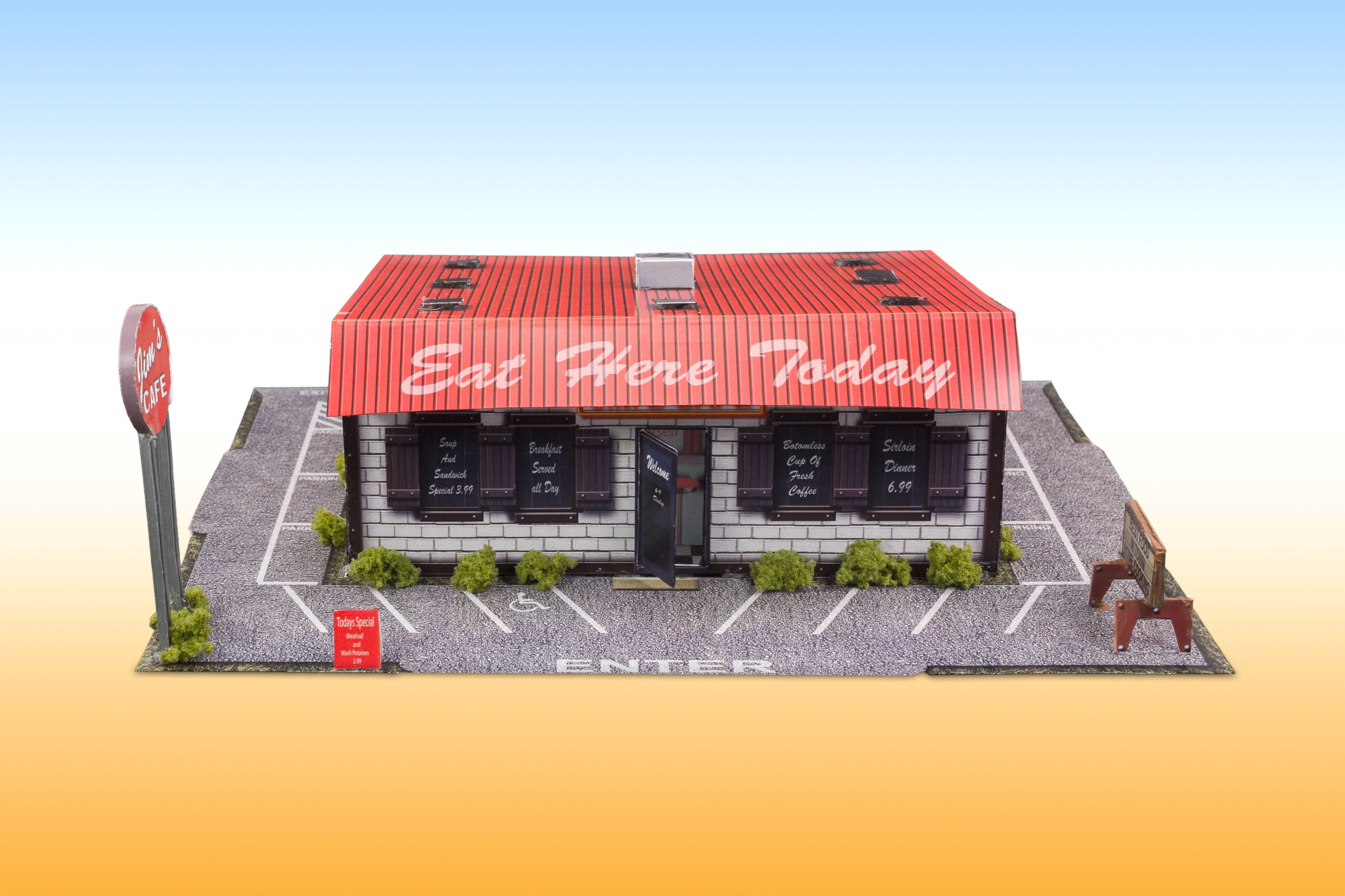 """""""Roadside Diner"""" Photo Real Scale Building Kit is a"""