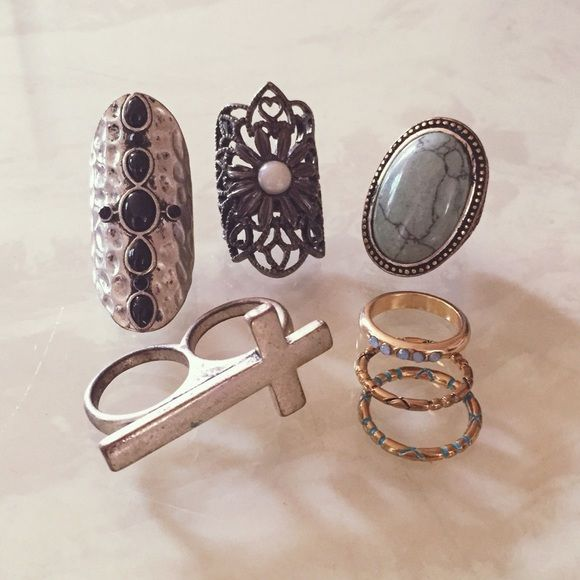 Ring set (sz 6) Set of 7 rings. All size 6. Can purchase the sets separately by the 4 divided numbered photos (in the last picture) or you can tell me which ones you would like to purchase. They are all in good condition. Most of them are from F21. Sterling silver.   SET 1: $4; SET 2: $6; SET 3: $4; SET 4: $3  leave a comment if you'd like to purchase any rings separately. Vintage Jewelry Rings