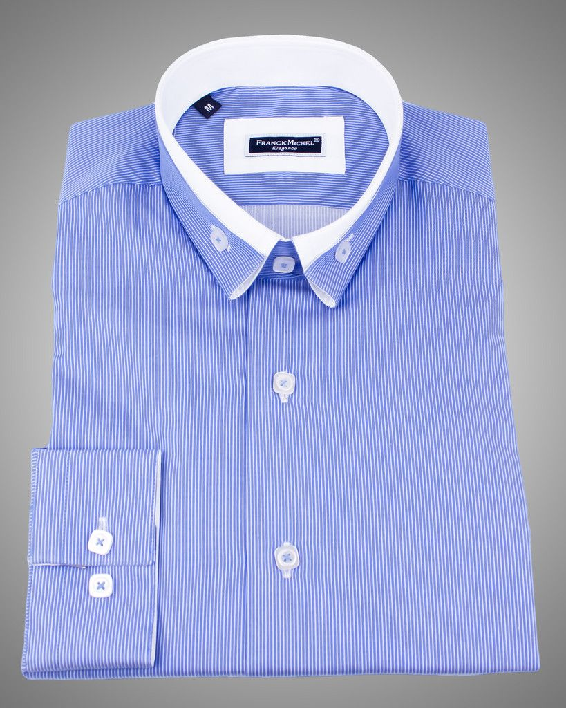 6233b3db MEN'S REVERSE COLLAR SHIRTS - ANDREA 2 BLUE Just At $129.00 | DOUBLE ...