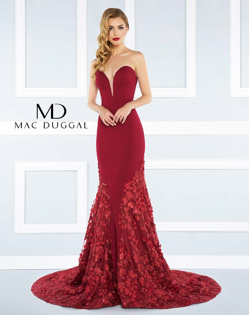 Strapless jersey mermaid gown with floral applique skirtFormal
