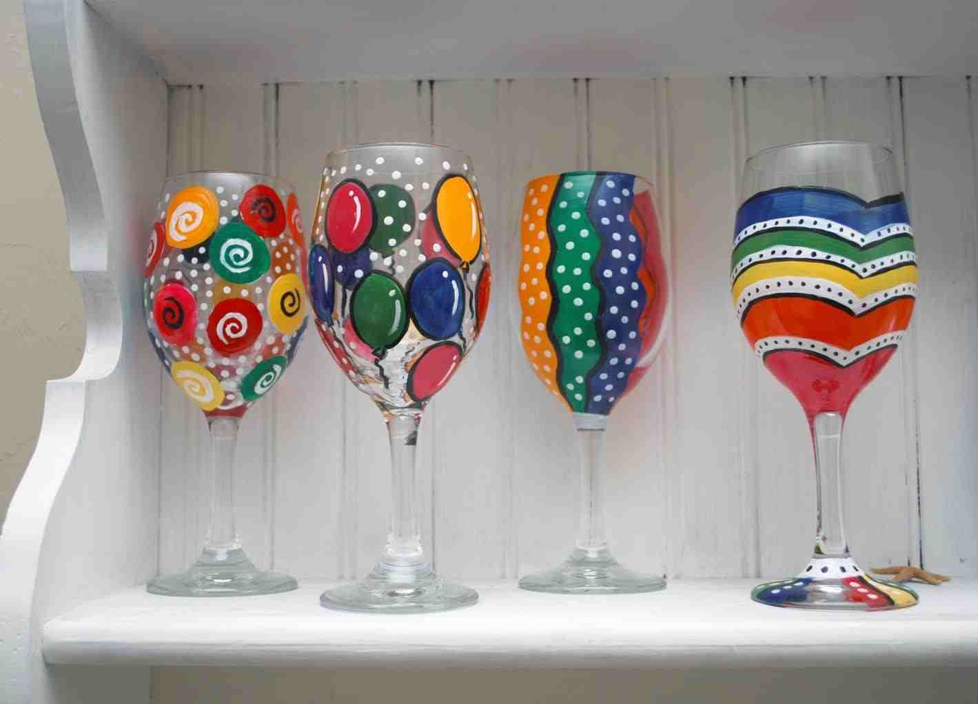 Wine Glass Painting Birthday Decorated Home Decorating Tips Image Of Great Loversi Glassware Hand Painted Glasses Designs