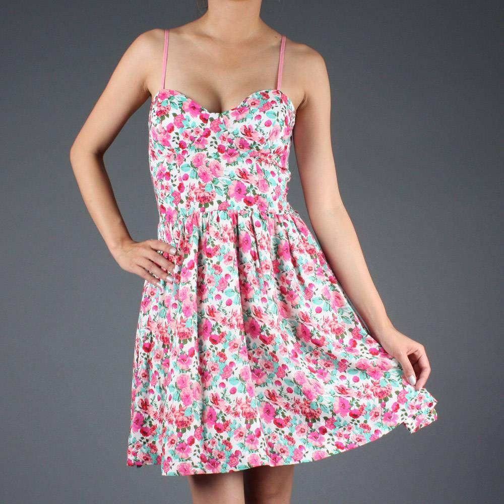 Pink Floral 70&39S Pretty Retro Bustier Style Sun Dress  Crazy ...