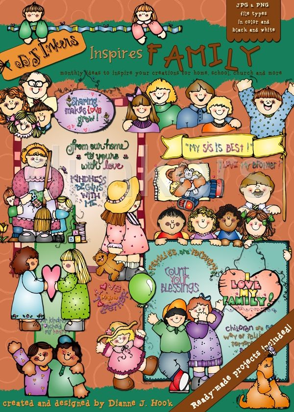 Family Clip Art Images Borders And Printable Projects By Dj Inkers Clip Art Family Clip Art Downloadable Art