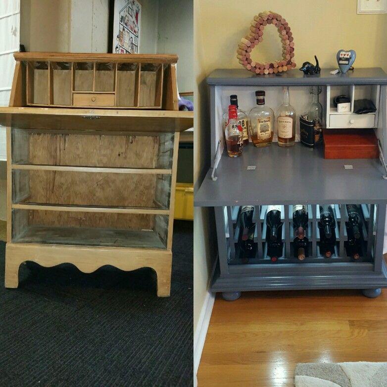 Repurposed Vintage Secretary Desk To Wine Rack Mini Bar Repurposed Desk Vintage Secretary Desk Painted Secretary Desks
