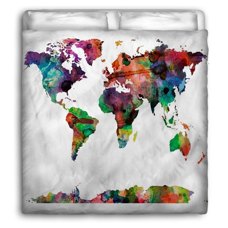 Watercolors World Map Duvet Cover On Simplistic Natural Or White