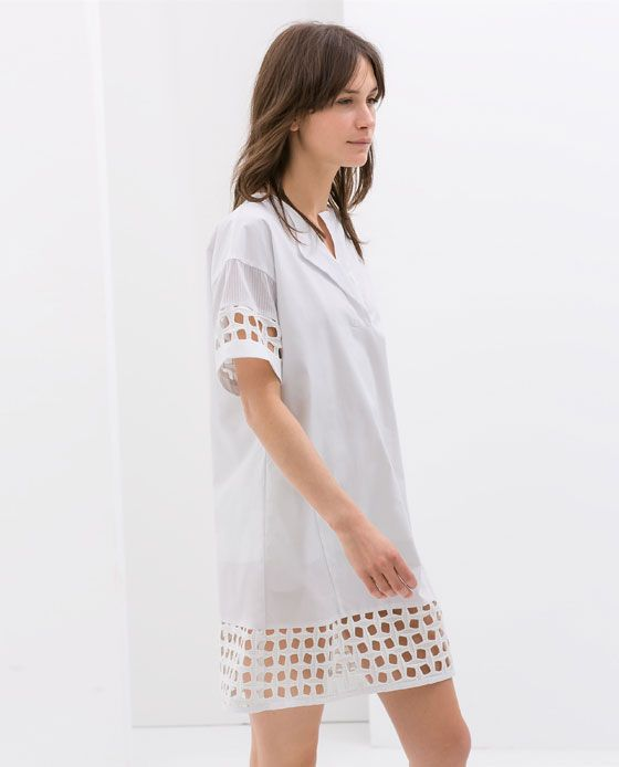 ZARA - WOMAN - COMBINED POPLIN DRESS WITH CUT WORK DETAIL