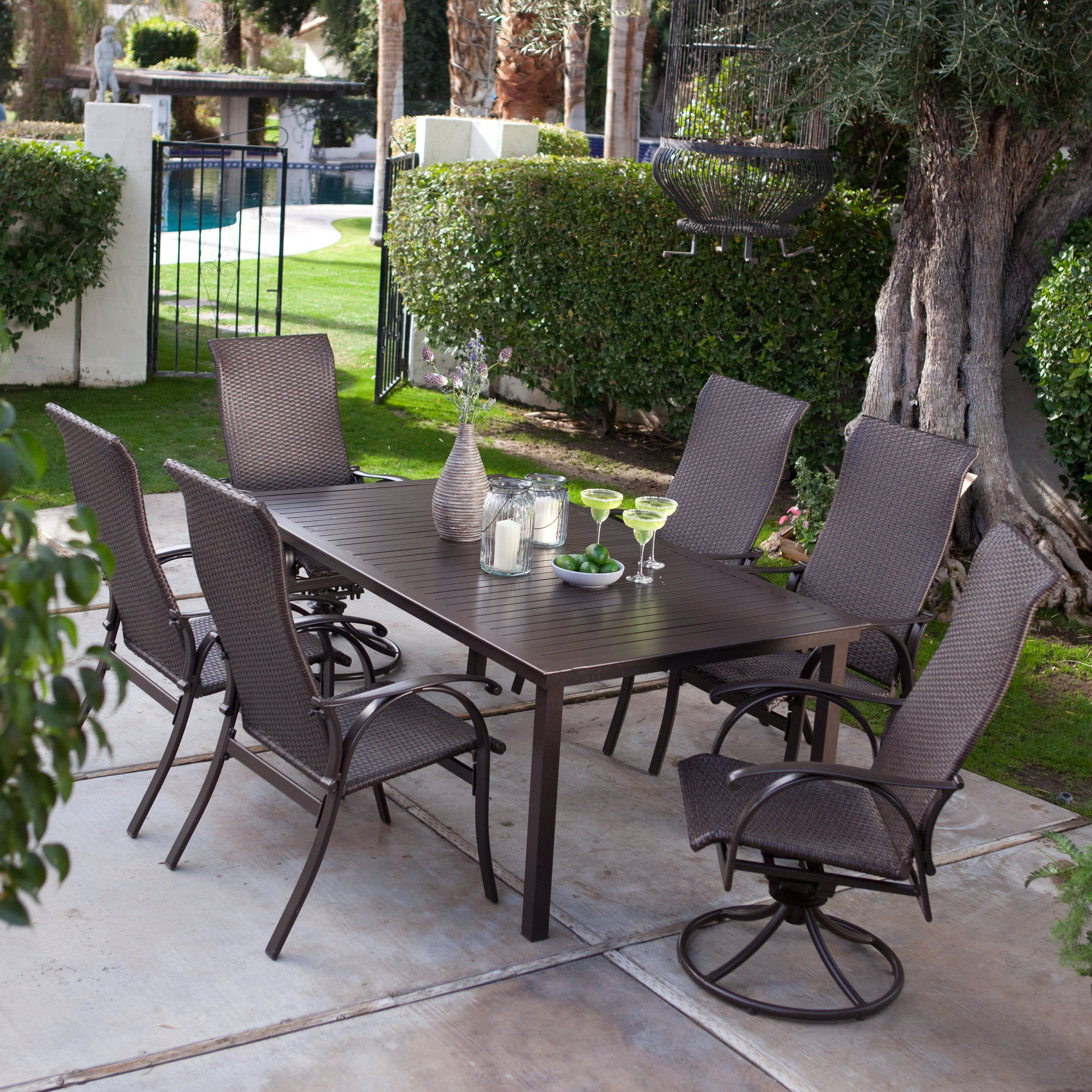 Coral Coast Bellagio Wicker Patio Dining Set   Seats 6   $1399.98 @hayneedle