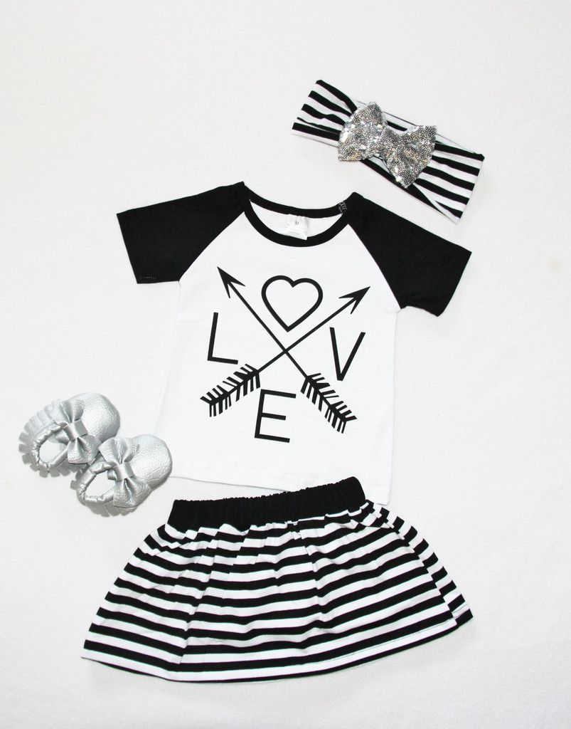 Arrow Love Stripe Skirt Set #boutique-outfits #daily-deal #dresses #new #newborn-clothing #newborn-sets #perfect-sets