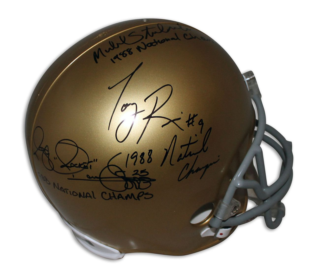 """AAA Sports Memorabilia LLC - Notre Dame Fighting Irish Replica Helmet Autographed and Inscribed by: Raghib """"Rocket"""" Ismail """"1988 National Champs"""", Tony Rice """"1988 National Champs"""" #raghibismail #tonyrice #notredame #fightingirish #notredamefightingirish #ncaa #ncaacollectibles #sportsmemorabilia #sportscollectibles #autographed"""