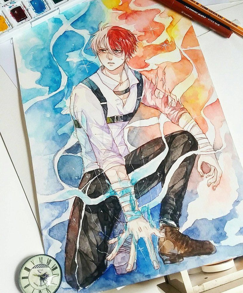 Todoroki Shouto Full Body Comm Sketches Anime Art