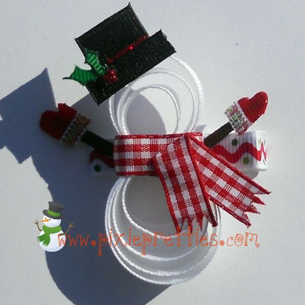 Snowman Ribbon Sculpture (Hair) Clippie @Pixie Pretties: Price: $7.50 (All kinds of different Hair Clips on site. Take a look!!!)