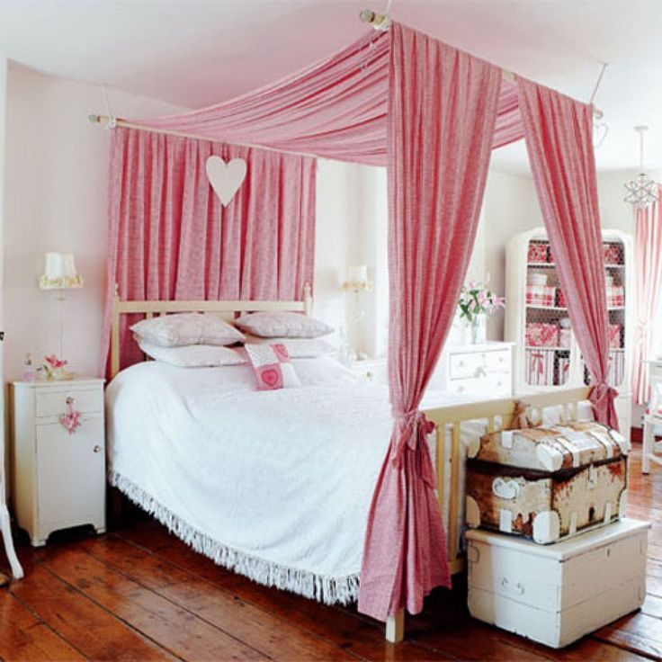 beautiful pink canopy bed for girlu0027s room
