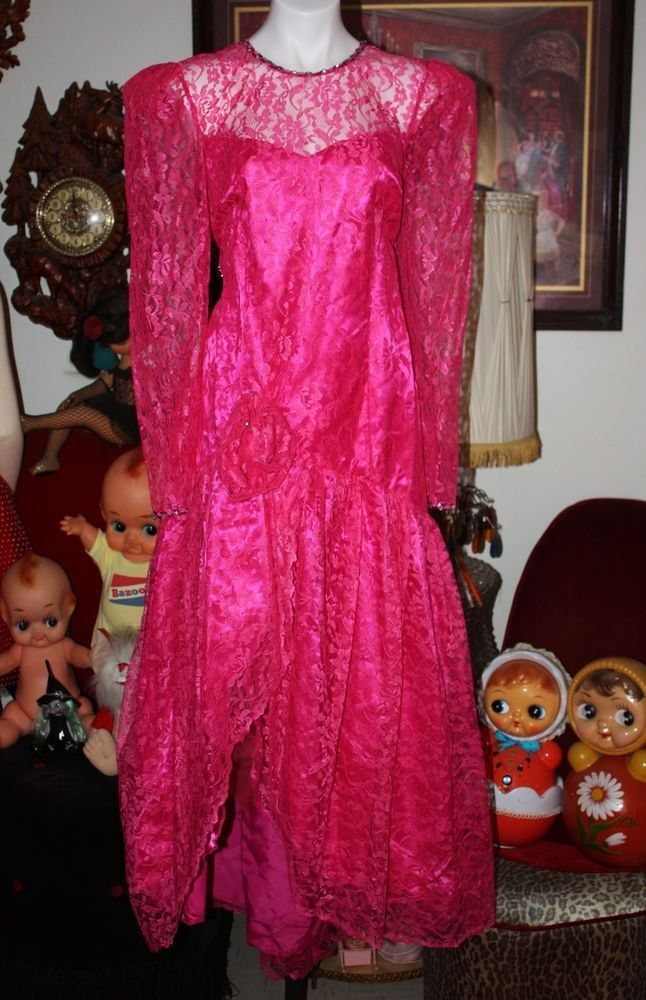 14fd231e49 VINTAGE HARD TO FIND PLUS SIZE 80 S PROM DRESS PINK LACE TOTALLY  OUTRAGEOUS!!
