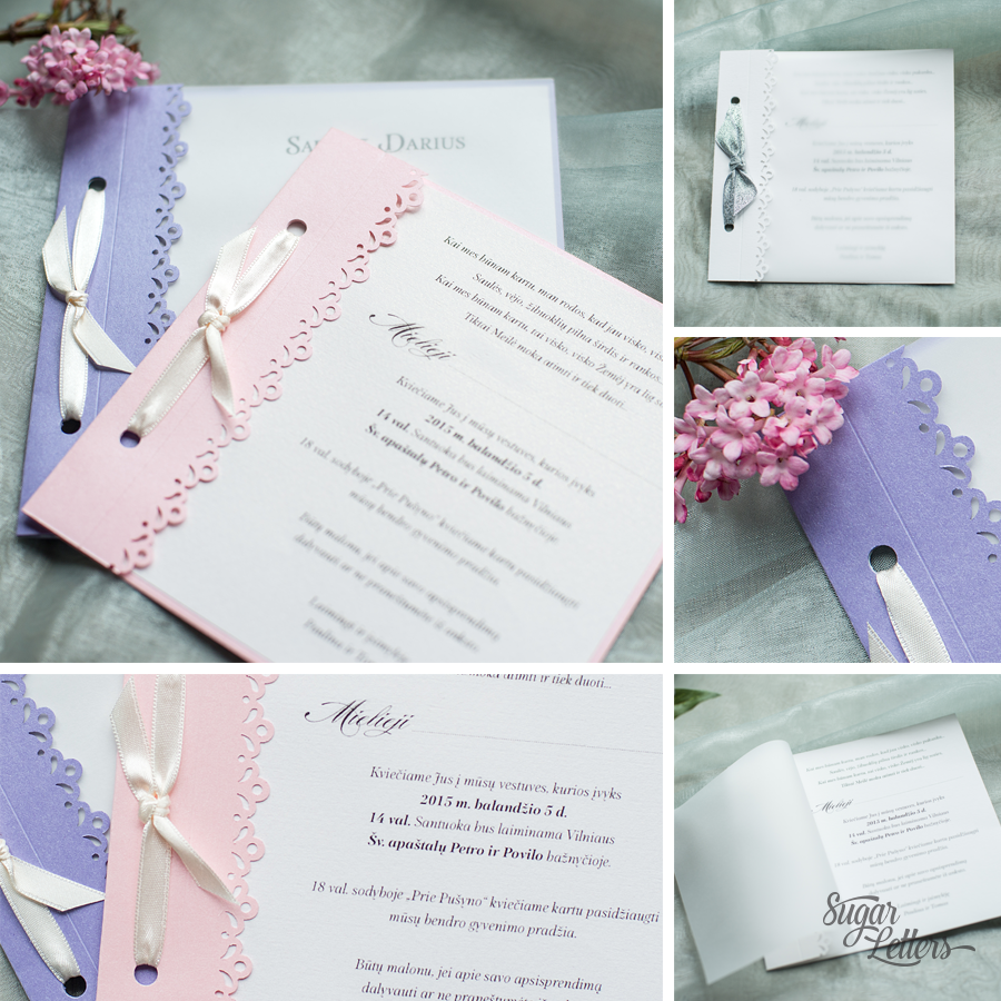 Simple wedding invitations. #pink #lilac #white #silver #ribbon ...