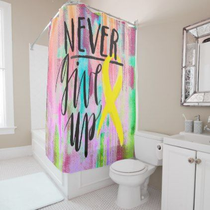 NEVER GIVE UP Shower Curtain - home gifts cool custom diy cyo home
