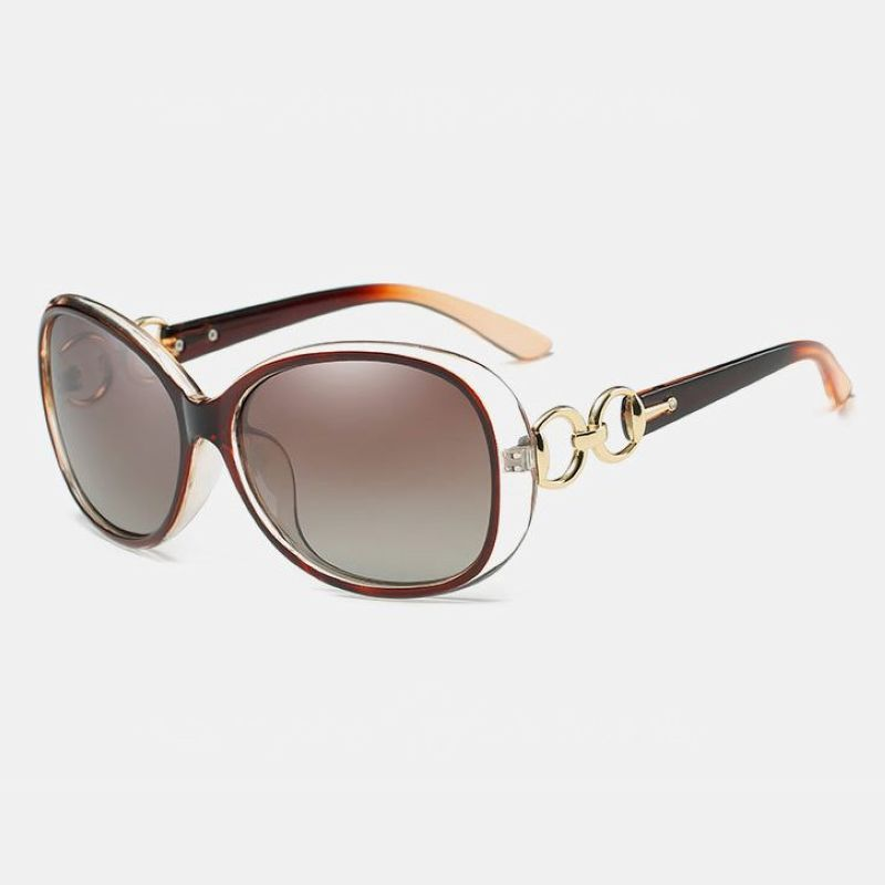 Brown Ladies Polarized Lenses Chain Link Fashion Oval Sunglasses