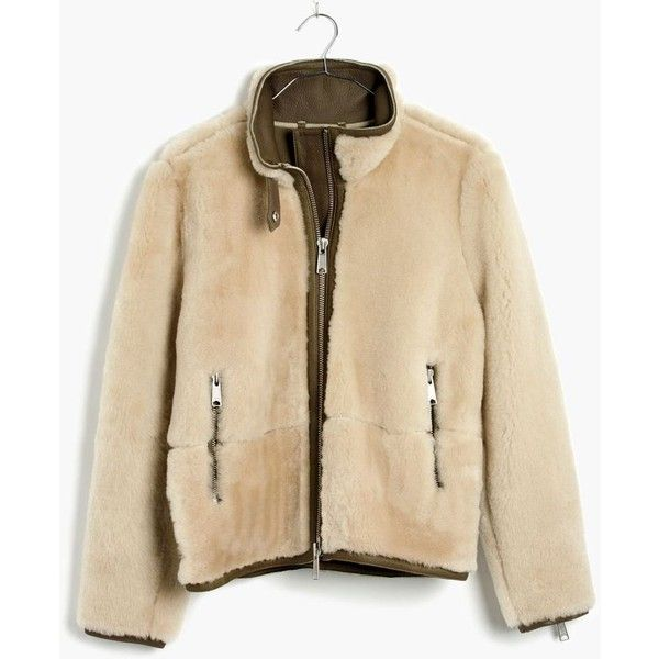 MADEWELL Plush Shearling Motorcycle Jacket featuring polyvore, women's fashion, clothing, outerwear, jackets, burnt olive, shearling moto jacket, brown jacket, green military jacket, brown moto jacket and olive jacket