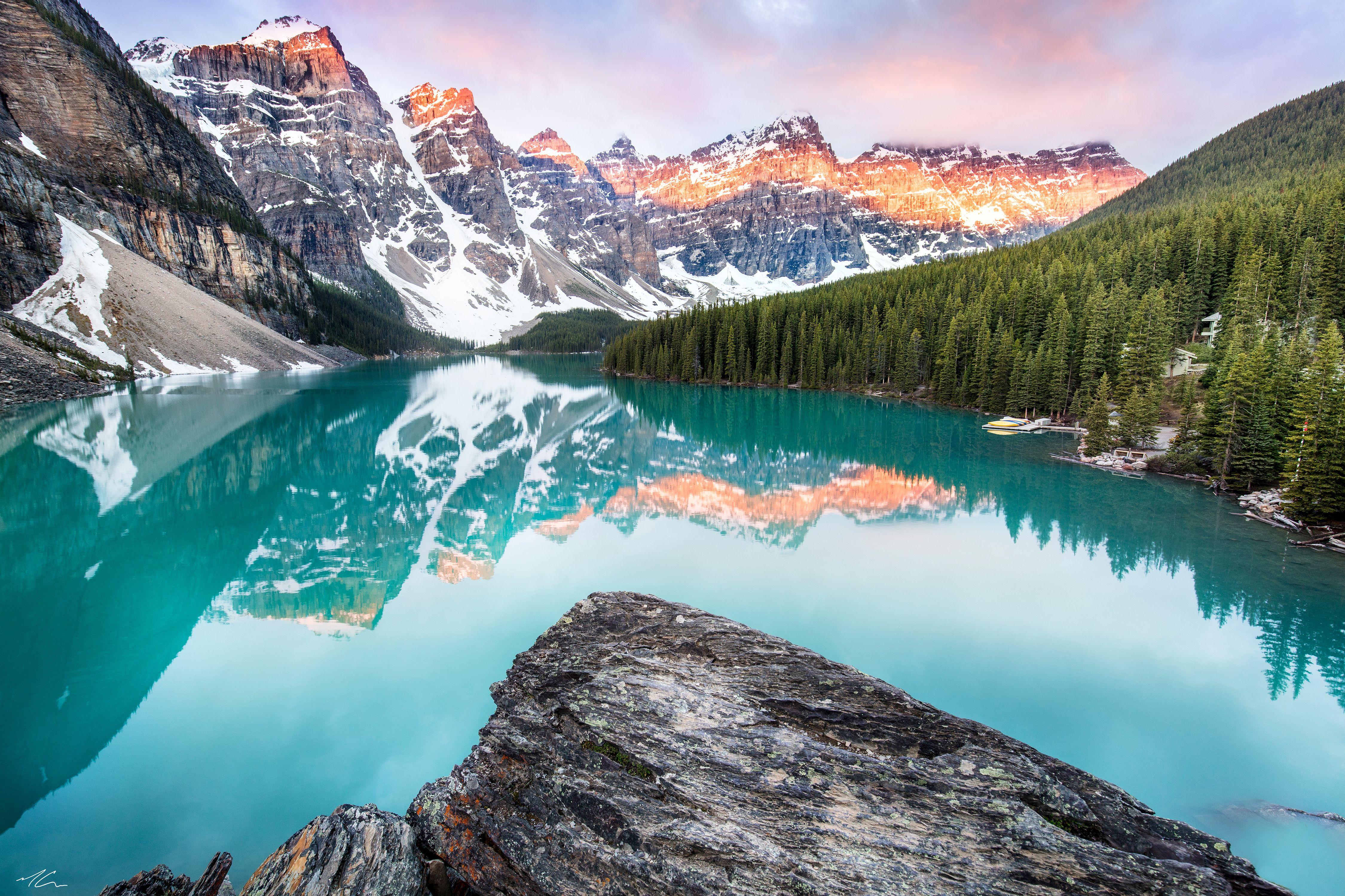 Moraine Lake During Sunrise Alberta Canada Oc 4500x3000