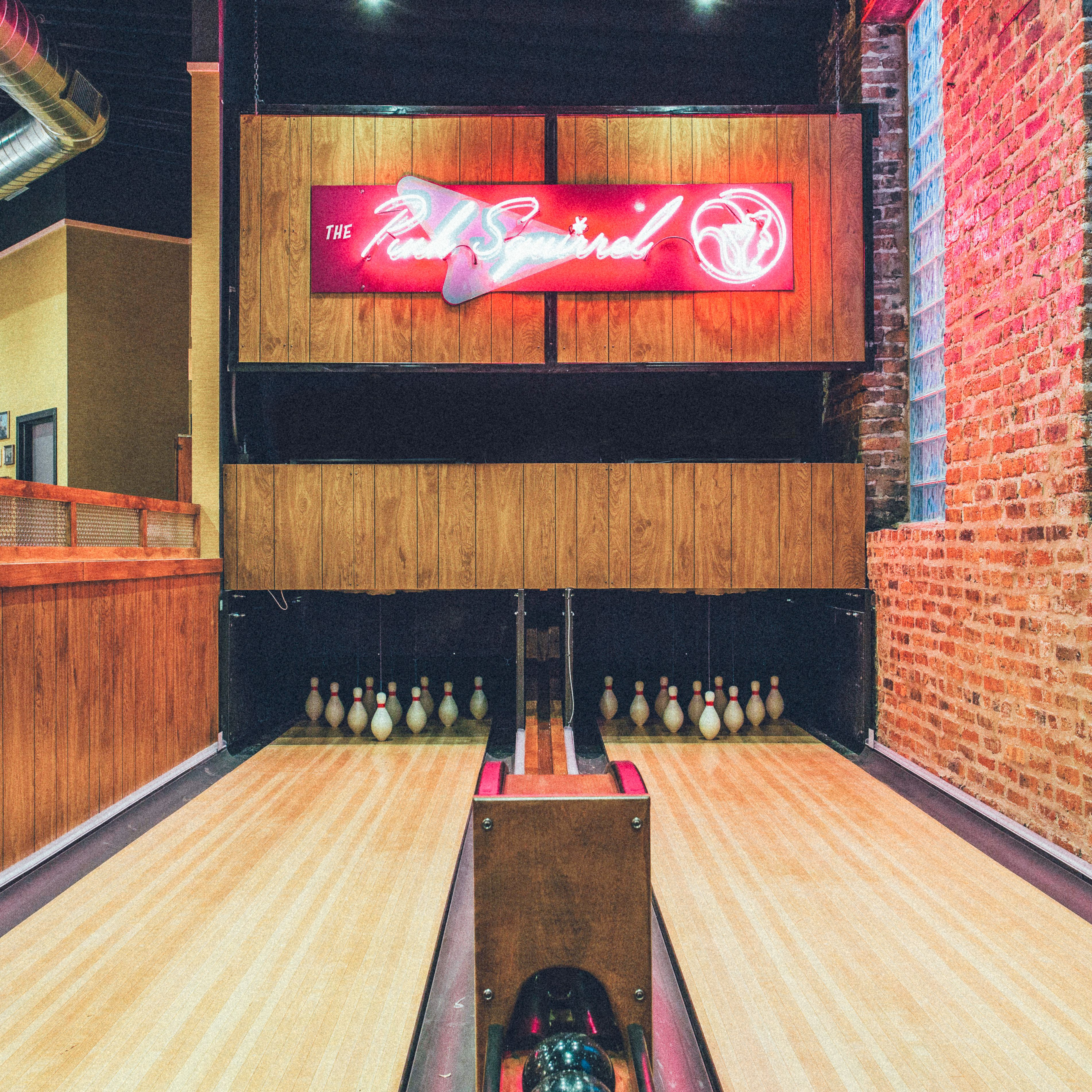 Mini Bowling Lanes At The Pink Squirrel Bar Pink Squirrel Chicago Bucket List Squirrel