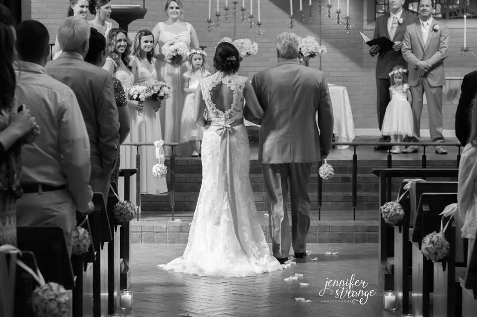 Wedding Photography, North Carolina, Spring, Romantic, Burlap, Lace, Bride and Father, Walking Down Aisle, Blush Wedding, Copyright Jennifer Strange Photography