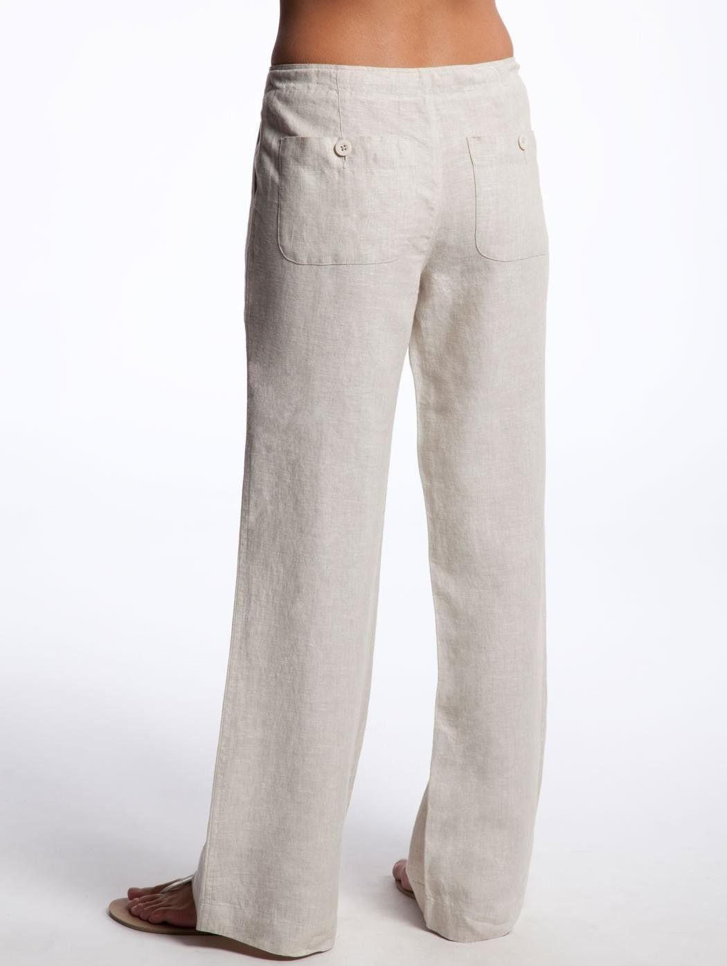 bee4edb6ebc Unique Eva Tralala White Casual Linen Pants Women Zulily
